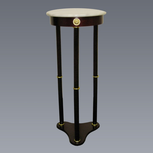 Round Marble Stand- White Finish