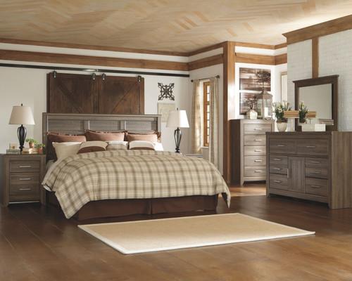 Juararo Dark Brown 3 Pc. Dresser, Mirror & King Panel Headboard