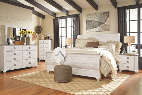 Willowton Whitewash 5 Pc. Dresser, Mirror & King Sleigh Bed