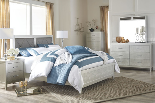 Olivet Silver 4 Pc. Dresser, Mirror & King Panel Bed