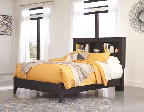 Reylow Dark Brown Queen Bookcase Bed