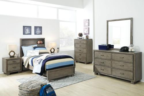 Arnett Gray 4 Pc. Dresser, Mirror & Full Storage Bed