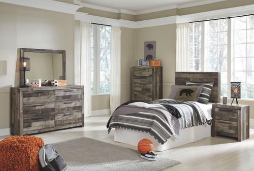 Derekson Multi Gray Twin Panel Headboard, Dresser, Mirror, Chest & Nightstand