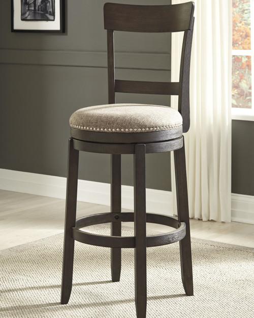 Drewing Brown Tall Upholstered Swivel Barstool