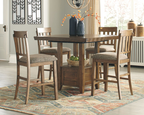 Flaybern Brown 5 Pc. Rectangular Counter Extension Table & 4 UPH Barstools