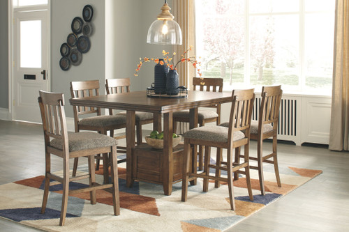 Flaybern Counter Dining Room 7 Pc. Set: Rectangular Counter Table with Leaf and 6 Upholstered Side Chairs