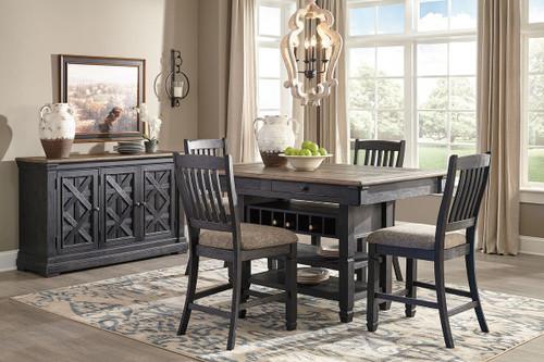 Tyler Creek Black/Gray 6 Pc. Rectangular Counter Table, 4 Upholstered Barstools & Server