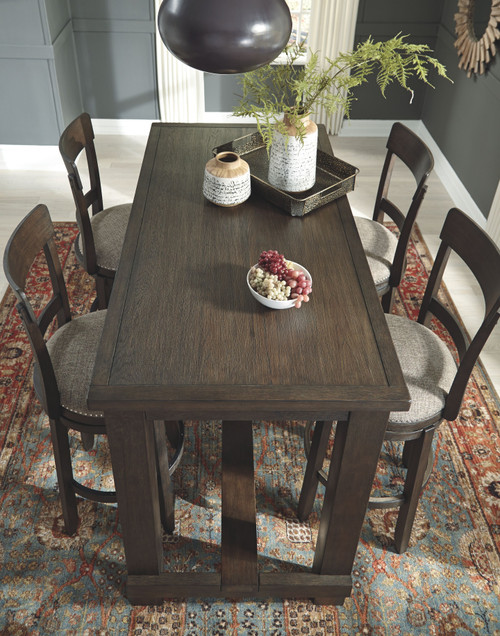 Drewing Brown 5 Pc. Rectangular Bar Table & 4 Upholstered Swivel Barstools