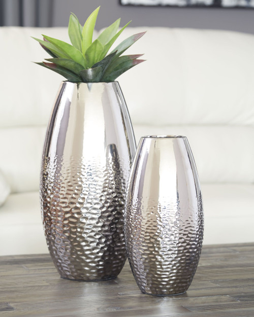 Dinesh Silver Finish Vase Set
