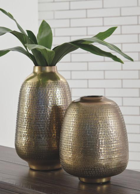 Miette Antique Brass Finish Vase Set