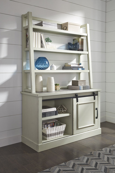 Jonileene White/Gray Home Office Cabinet with Desk Hutch