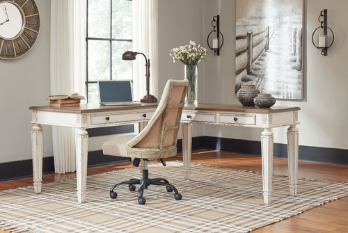 Realyn White/Brown L Shaped Desk with Lift Top & Swivel Desk Chair