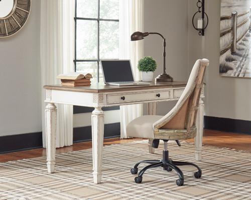 Realyn White/Brown Home Office Lift Top Desk & Swivel Desk Chair