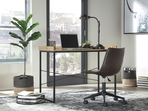 Gerdanet Light Brown Home Office Desk with Swivel Chair