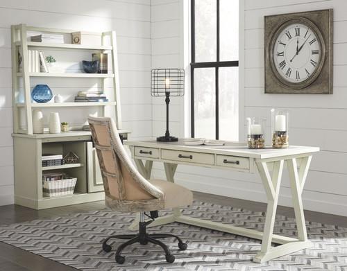 Jonileene White/Gray Large Leg Desk, Cabinet with Desk Hutch & Swivel Chair