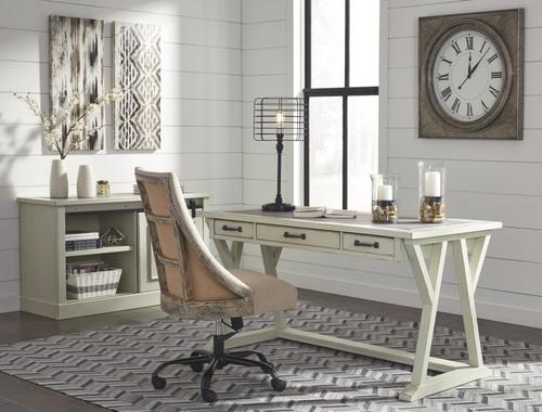 Jonileene White/Gray Large Leg Desk, Office Cabinet & Swivel Chair