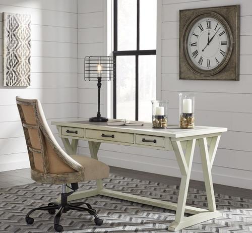 Jonileene White/Gray Large Leg Desk & Swivel Chair