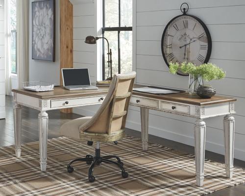 Realyn White/Brown Home Office L Shaped Desk & Swivel Desk Chair