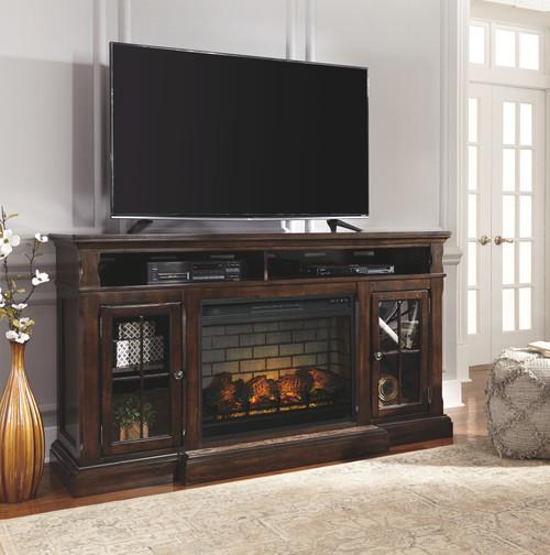 Roddinton Dark Brown XL TV Stand with LG Fireplace Insert Infrared