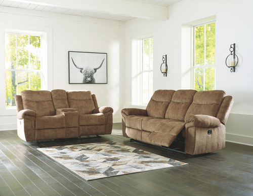 Huddle-Up Nutmeg Reclining Sofa with Drop Down Table & Double Reclining Loveseat with Console