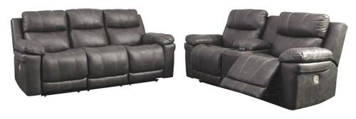 Erlangen Midnight Power Reclining Sofa with ADJ HDRST & Power Reclining Loveseat with CON/ADJ HDRST