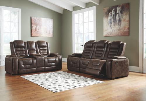 Game Zone Bark Power Reclining Sofa with ADJ HDRST & Power Reclining Loveseat CON/ADJ HDRST