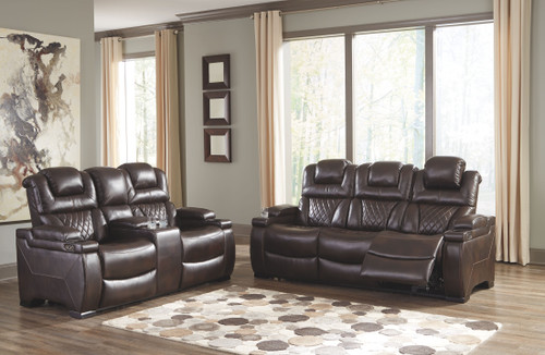 Warnerton Chocolate Power Reclining Sofa with ADJ HDRST & Power Reclining Loveseat with CON/ADJ HDRST