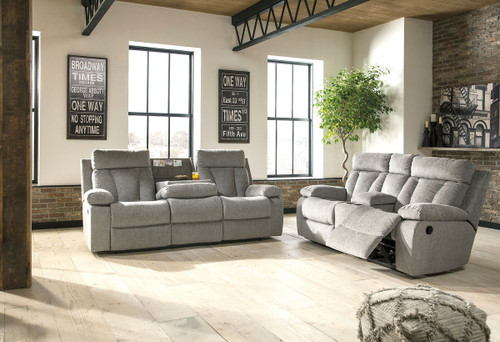 Mitchiner Fog Reclining Sofa with Drop Down Table & Double Reclining Loveseat with Console
