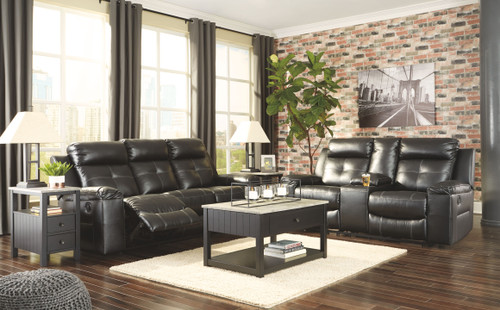 Kempten Black Reclining Sofa & Double Reclining Loveseat with Console