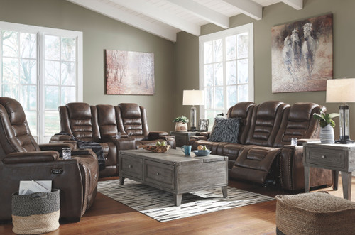 Game Zone Bark Power Reclining Sofa with ADJ HDRST, Power Reclining Loveseat with CON/ADJ HDRST & Power Recliner/ADJ Headrest