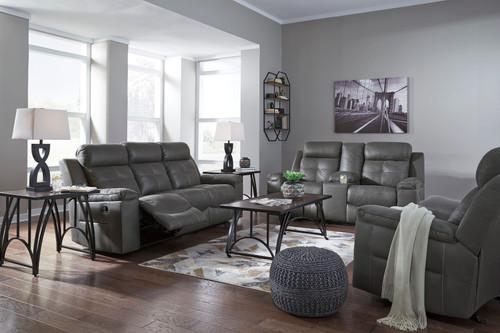 Jesolo Dark Gray Reclining Sofa, Double Reclining Loveseat with Console & Rocker Recliner