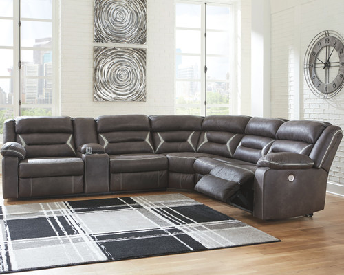 Kincord Midnight LAF Reclining Power Sofa with Console, Wedge, Armless Chair & RAF Zero Wall Power Recliner Sectional