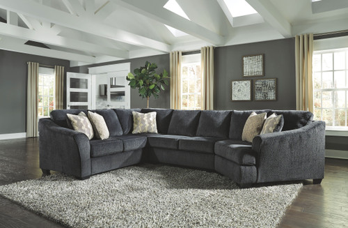 Eltmann Slate LAF Sofa with Corner Wedge, Armless Loveseat & RAF Cuddler Sectional