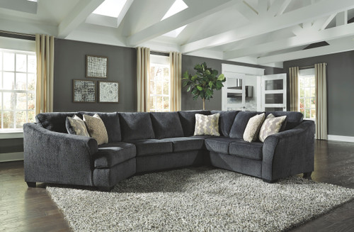 Eltmann Slate LAF Cuddler, Armless Loveseat & RAF Sofa with Corner Wedge Sectional