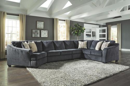 Eltmann Slate LAF Cuddler, Armless Chair, Armless Loveseat & RAF Sofa with Corner Wedge Sectional