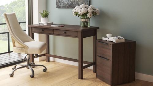 Camiburg Warm Brown Desk, File Cabinet & Swivel Desk Chair
