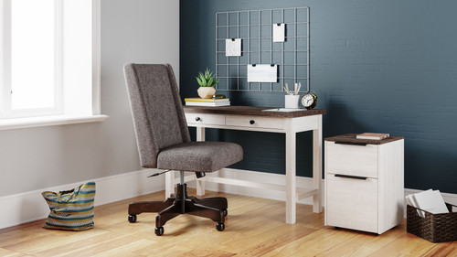 Dorrinson Two-tone Desk, File Cabinet & Swivel Desk Chair