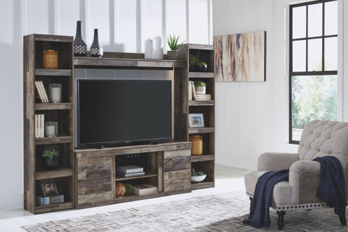 Derekson Multi Gray Entertainment Center LG TV Stand, 2 Piers & Bridge