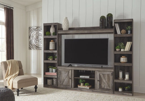 Wynnlow Gray Entertainment Center LG TV Stand, 2 Piers & Bridge