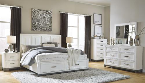 Brynburg White 6 Pc. Dresser, Mirror, Chest & Queen Panel Bed with 2 Storage Drawers