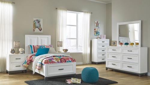 Brynburg White 7 Pc. Dresser, Mirror, Twin Panel Bed & 2 Nightstands