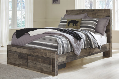 Derekson Multi Gray Full Panel Bed with 2 Storage Drawers
