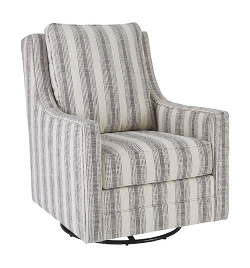 Kambria Ivory/Black Swivel Glider Accent Chair