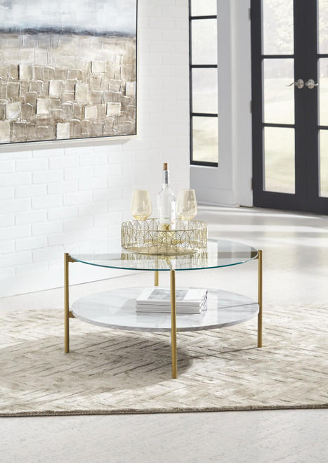 Wynora White/Gold Round Cocktail Table