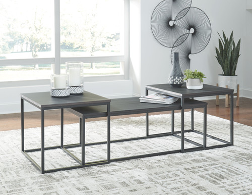 Yarlow Black Occasional Table Set (3/CN)