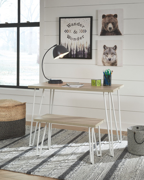 Blariden Brown/White Desk w/Bench