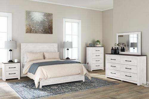 Gerridan White/Gray 4 Pc. Dresser, Mirror, Queen Panel Bed