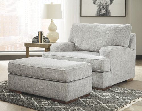 Mercado Pewter Chair and a Half with Ottoman