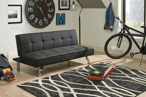 Santini Black Flip Flop Armless Sofa