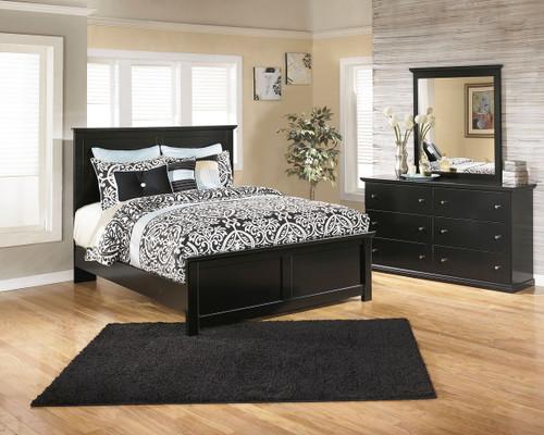 Maribel Black 5 Pc. Dresser, Mirror & King Panel Bed